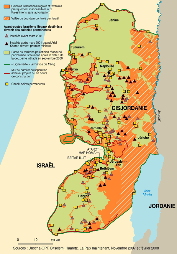 carte occupation Palestine